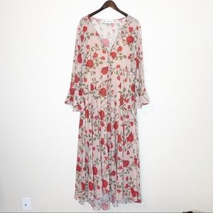 Fame and Partners Floral Bell Sleeve Maxi Dress
